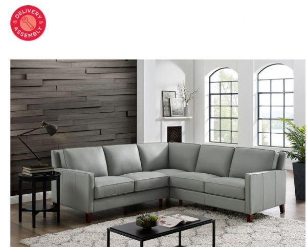 West Park Light Grey Leather Corner Sofa