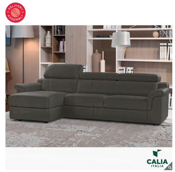 Remarkable Calia Italia Bellagio Grey Italian Leather Sofa Chaise Beatyapartments Chair Design Images Beatyapartmentscom