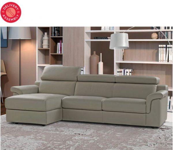 Tremendous Calia Italia Bellagio Dove Grey Italian Leather Sofa Chaise Pdpeps Interior Chair Design Pdpepsorg