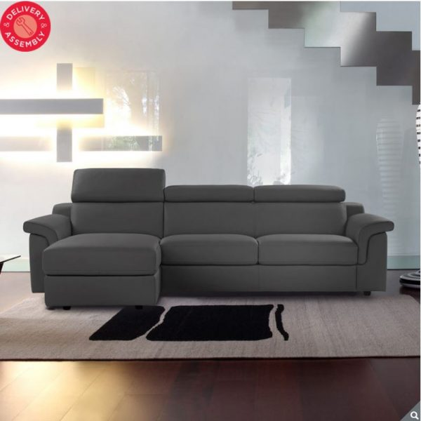 Fantastic Calia Italia Bellagio Grey Italian Leather Sofa Chaise Beatyapartments Chair Design Images Beatyapartmentscom